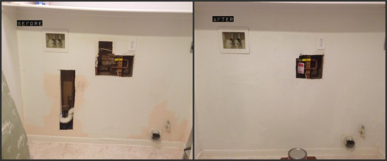 dry wall patch before after