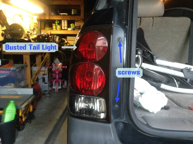 busted tail light
